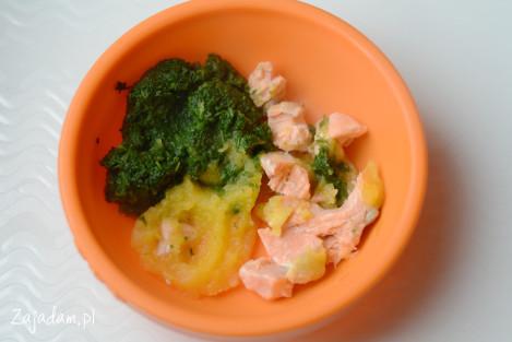 obiad niemowlaka szpinak dynia łosoś