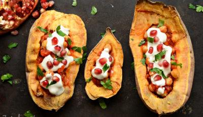 Bataty z ciecierzycą i pomidorami