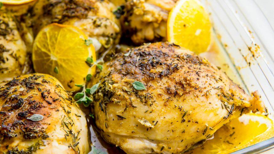 Pieczony kurczak z pomarańczą i tymiankiem
